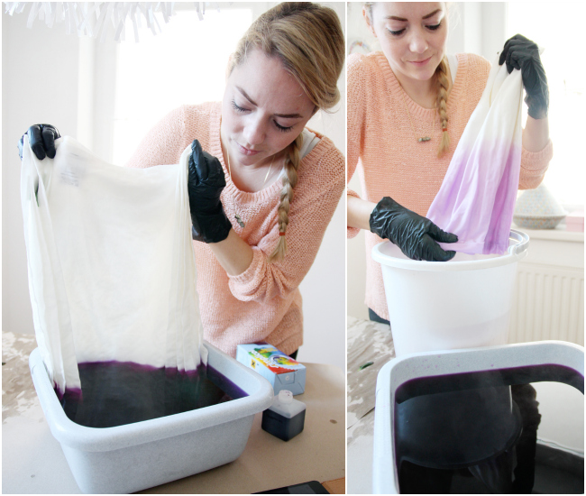 DIY: Dip-Dye Tutorial for Ombre Watercolour Napkins / www.fanfarella.at