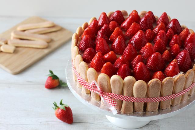 Rezept Erdbeer Quark Torte Mit Loffelbiskuit Fanfarella